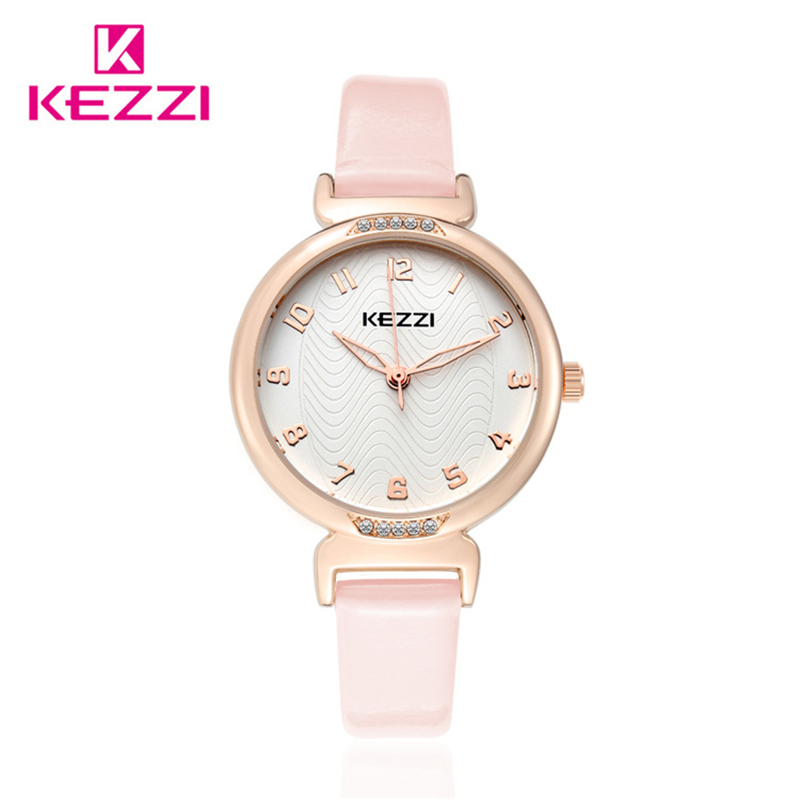 Kezzi marca de lujo diamante nueva moda mujer señora reloj cuarzo analógico  correa de cuero casual reloj femenino Relogio k1420 3472b00d8bf5