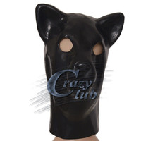 Crazy club_Black Latex Kat Masker met back rits Hoofd Kostuum Theater Prop Novelty Rubber Volledige Gezicht Dier Party Hood