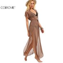 COLROVIE Ladies Brown Drawstring Waist V Neck Split Dresses Summer Beach Wear Sexy Short Sleeve Long Maxi Dress