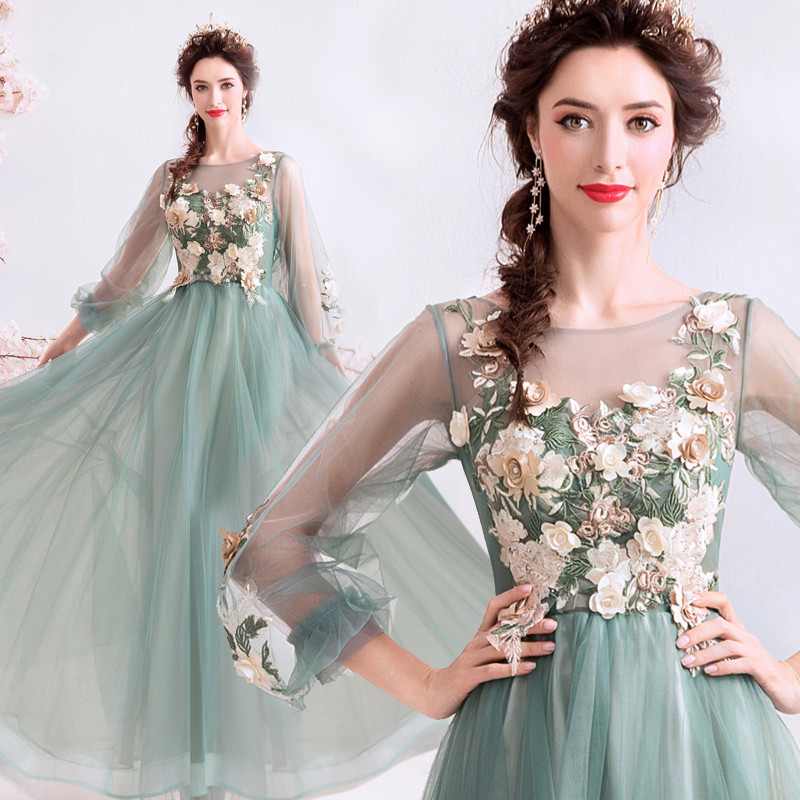 Green Elegant   Evening     Dresses   A-line O-neck 3D Flowers Beading Long Party   Dresses     Evening   Gowns Vestido De Festa JK35
