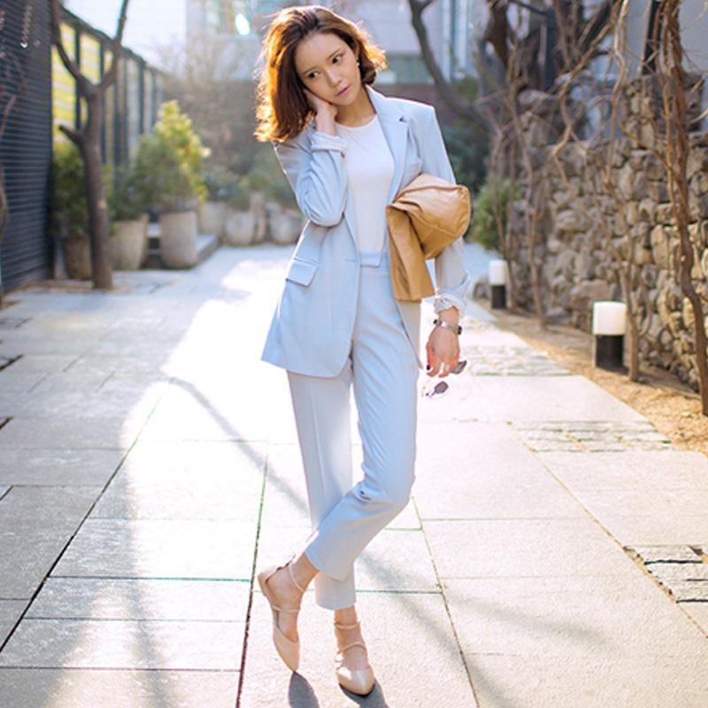 2018 Spring New Fashion Female 2 Pieces Sets Women Suit Soild Color Office Lady Suit Jacket And Harlan Pants Light Blue Twinset