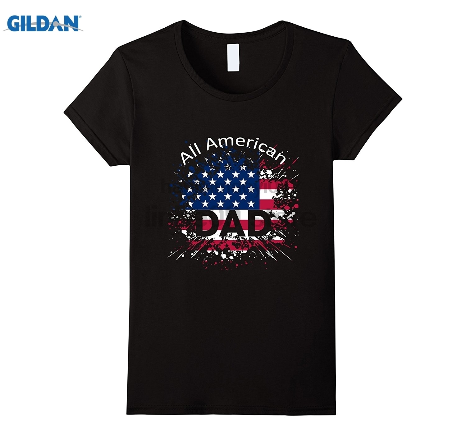 GILDAN Mens All American Dad American Flag - Fathers Day Gift Shi Womens T-shirt