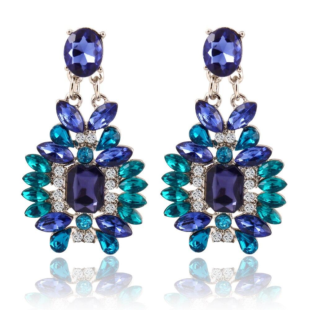 2017 New Crystal Earrings For baroque Big Long Blue Earrings for women Pendantes christmas drop dangling Jewelry earrings Gifts