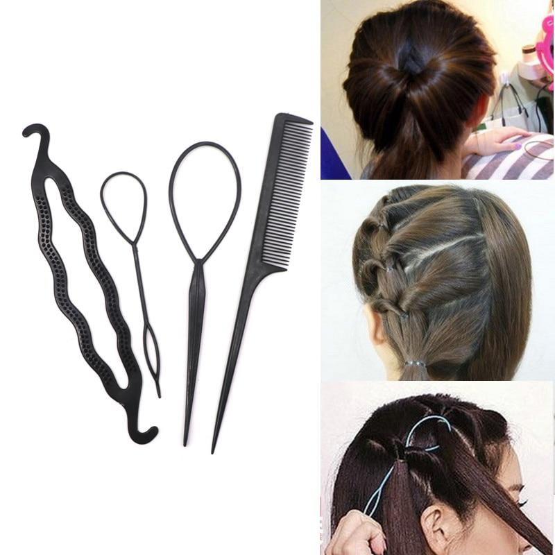 4pcs Ponytail Creator Plastic DIY Hair Styling Tools Black