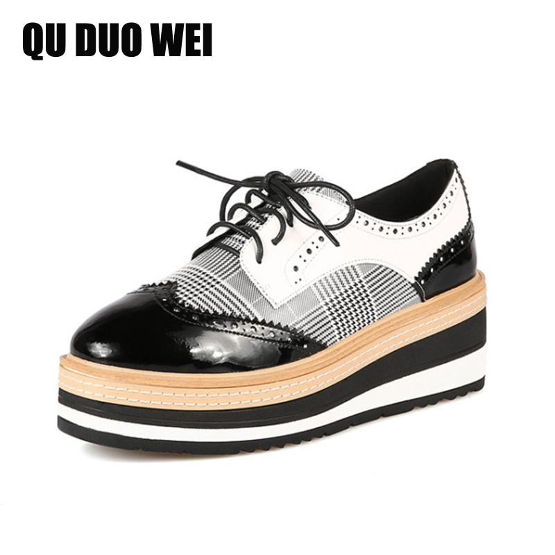 2018 New Spring Autumn Genuine Leather Women Flats Shoes Fashion Bullock Style Flat Platform Brogue Shoes Woman Casual Sneakers brand new spring men fashion lace up leather retro brogue shoes casual flat breathable carved shoes bullock oxfords shoes wb 55