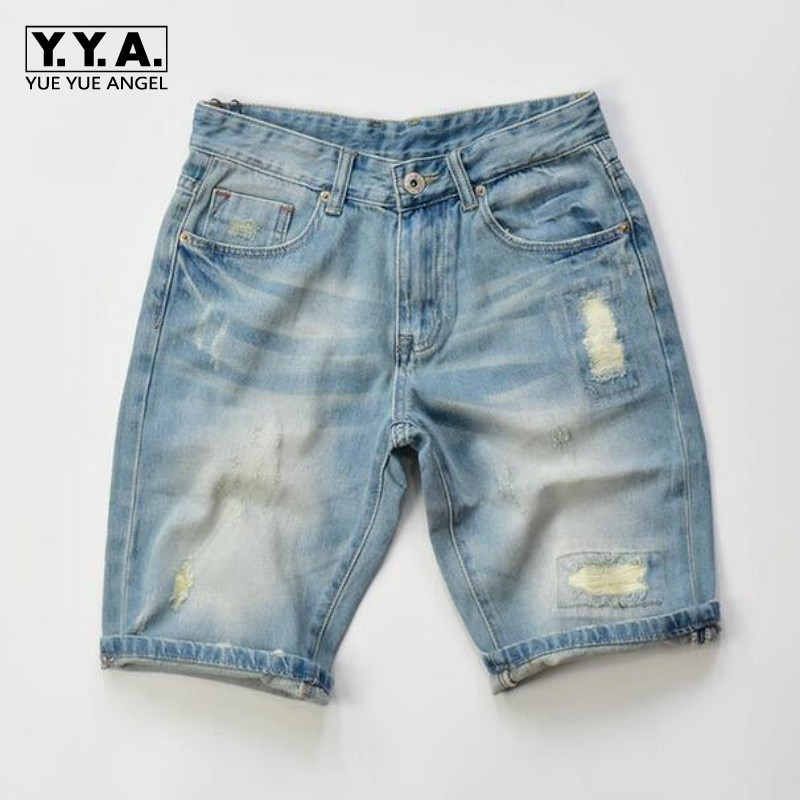 2017 Hot Casual Short Jeans For Men Cotton Light Blue Shorts Fashion Brand Men's Bermuda Masculina Hole Scratched Trousers