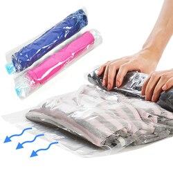 1 шт. компрессионные пакеты для хранения одежды ручной прокатки пластиковые вакуумные упаковочные мешки дорожные сумки для хранения багажа