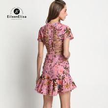 Runway Dress 2017 Women Floral Print Mini Sexy Backless Luxury Dresses Summer
