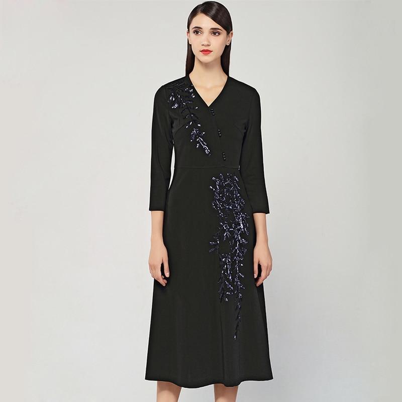 Fashion V Vestid Noir Wiron Trimestre Designer Manuel Manches Trois Spring Femmes 2019 Partie Robe Cou Robes De Parti Longue Broderie Travail EFCH4qSZF