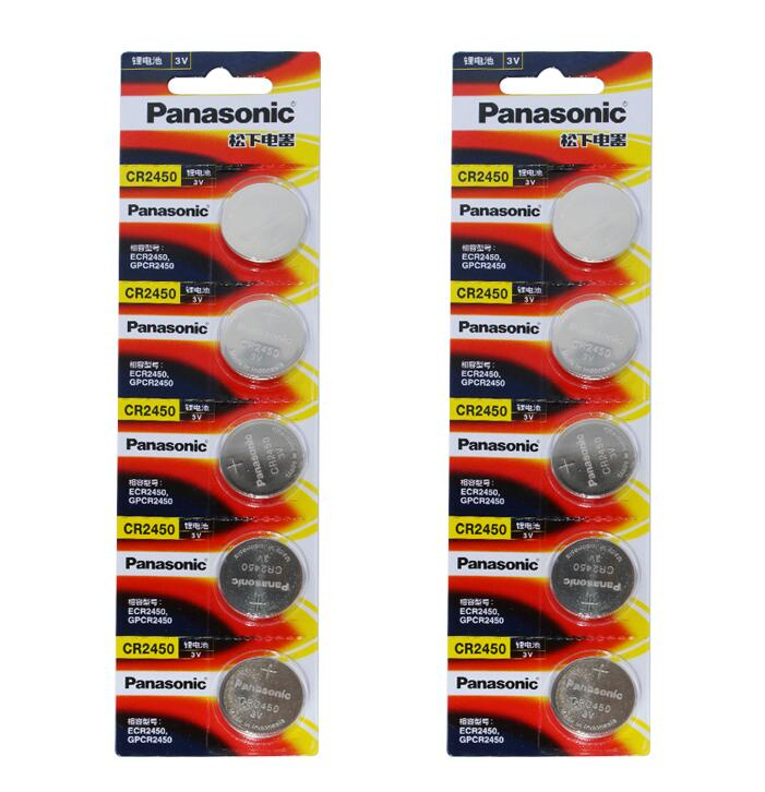 10pcs/lot Panasonic CR2450 <font><b>CR</b></font> <font><b>2450</b></font> <font><b>3V</b></font> Lithium Button Cell Battery Coin Batteries For Watches,clocks,hearing aids image
