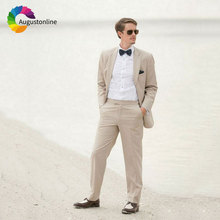 Summer Beach Wedding Khaki/Beige Linen Men Suits for Slim Fit Groom Tuxedo 2Piece Jacket Casual Prom Wear