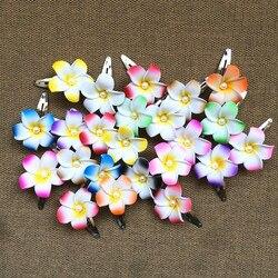 قبلة سعيدة 50 قطعة من الفوم المختلط اللون زهرة هاواي بلوميريا زهرة فرانجيباني مشبك شعر للعروس 4 سنتيمتر هدايا حفلات الزفاف