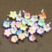Happy Kiss 50pcs Mixed Color Foam Hawaiian Plumeria Flower Frangipani Flower Bridal Hair Clip 4cm Folower