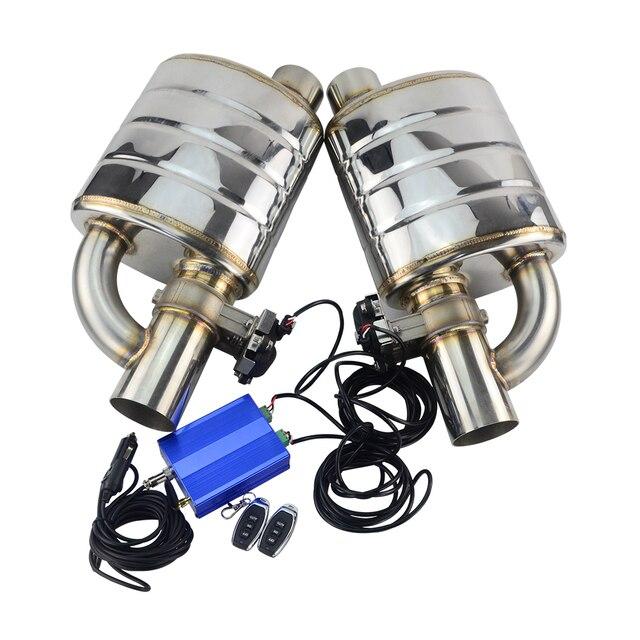 """Stal nierdzewna 2.5 """"3"""" pochyły wylot wskazówka wlot zmienny tłumik wydechowy spawanie z elektrycznym redukcja spalin sterowanie elektryczne zestaw"""