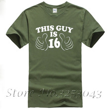 THIS GUY IS SIXTEEN Funny 16th Birthday Tee Xmas Gift Idea Mens New Top T SHIRT