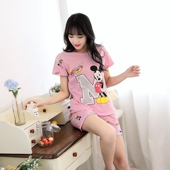 Women Pajamas Sets Hot Summer Short Sleeve Thin Lovely Cartoon Print Cute Loose  Sleepwear Girl pijamas Mujer Nightgown For Women d073eb606