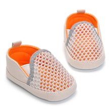 New Orange Mesh Breathable Baby Flat Heel Sports And Leisure Toddler Shoes White Orange Children Shoes 0-18M(China)