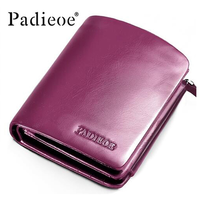 Padieoe Luxury Genuine Cow Leather Women s Short Wallet Fashion Soft Three Fold Business Purse High