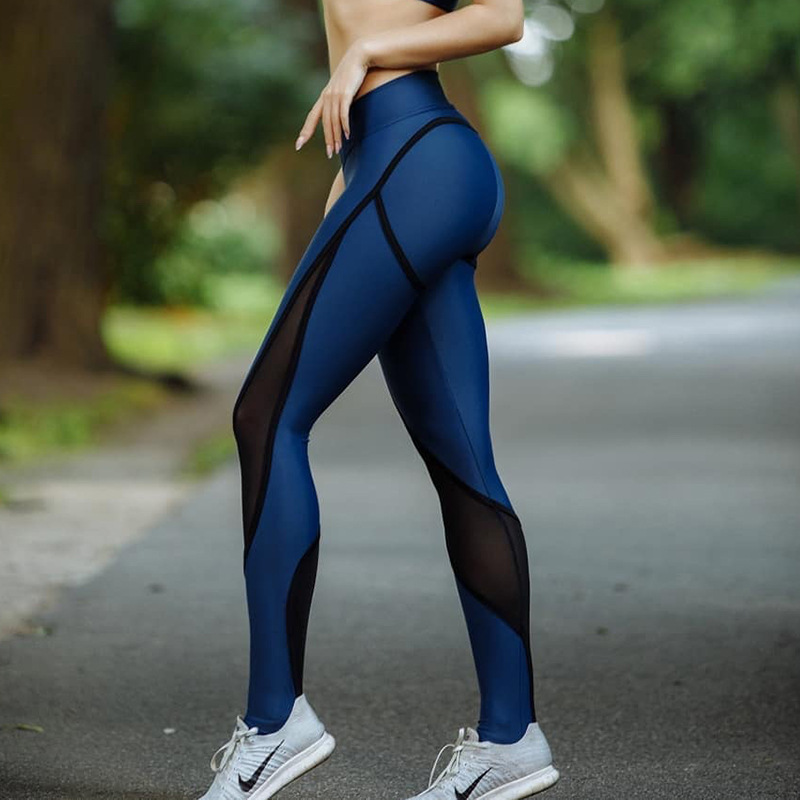 2018 New Blue And Black Patchwork Women Mesh Leggings Sexy Push Up Slim Jeggings High Elastic Waist Breathable Fitness Leggings