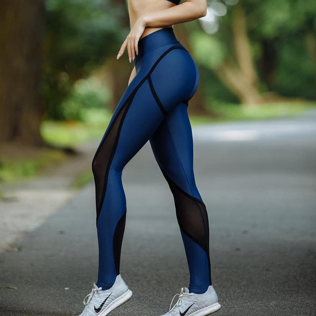 931c5ede71cefd 2018 New Blue And Black Patchwork Women Mesh Leggings Sexy Push Up Slim  Jeggings High Elastic