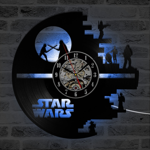 Image 2 - 3D Star Wars Record Clock Vinyl LP Hollow CD Clock Decor Home Hanging Wall Clock Creative and Antique Style LED Clock
