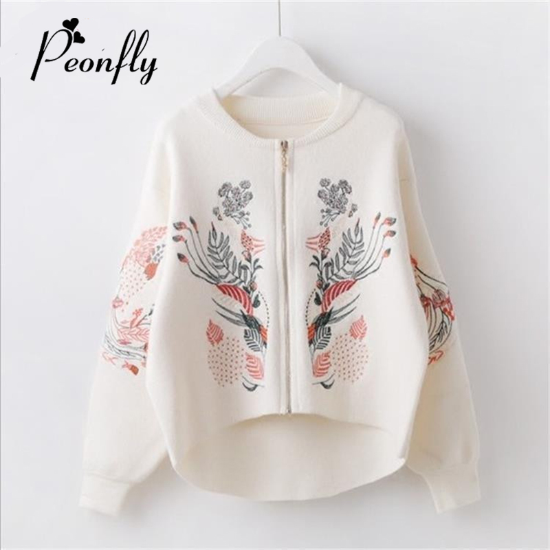 PEONFLY Women Autumn Sweater Cardigans Embroidery Zipper Sweater Poncho black White Flower Coat Short Poncho Feminino