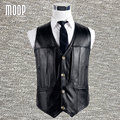 Black solid genuine leather vest 100% lambskin leather jacket men waistcoat business coat chaleco hombre colete LT744 Free ship