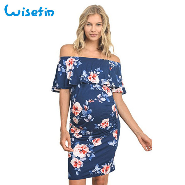 92261409c7 Wisefin Women Maternity Off Shoulder Dress For Pregnant Beach Style  Maternity Slim Dresses Summer Casual Pregnancy