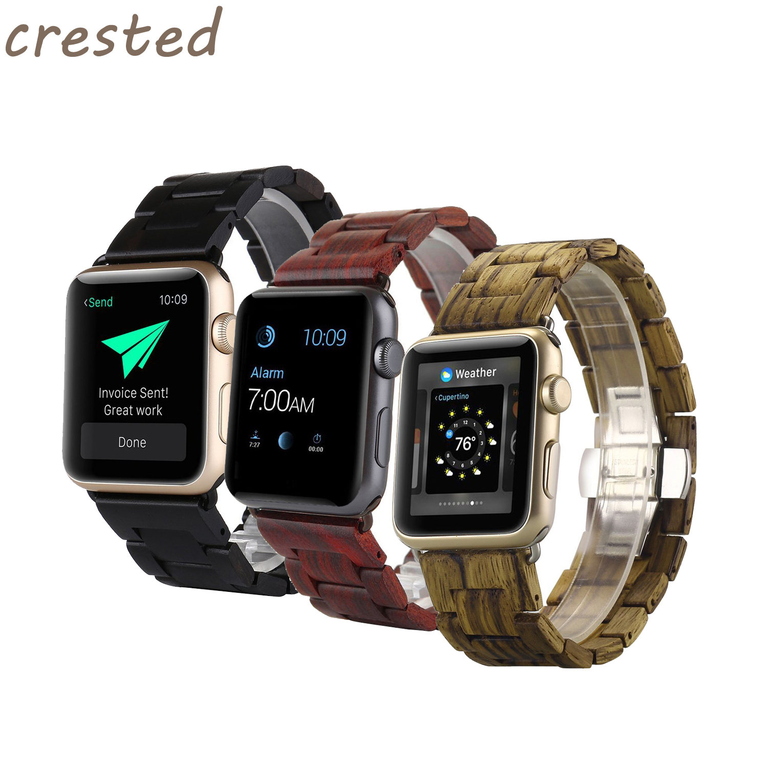 CRESTED Natural Wooden band for apple watch 3 42mm/38mm iwatch 3/2/1 Butterfly buckle strap wristband Bracelet smart Watch Band crested nylon band strap for apple watch band 3 42mm 38mm survival rope wrist bracelet watch strap for apple iwatch 3 2 1 black