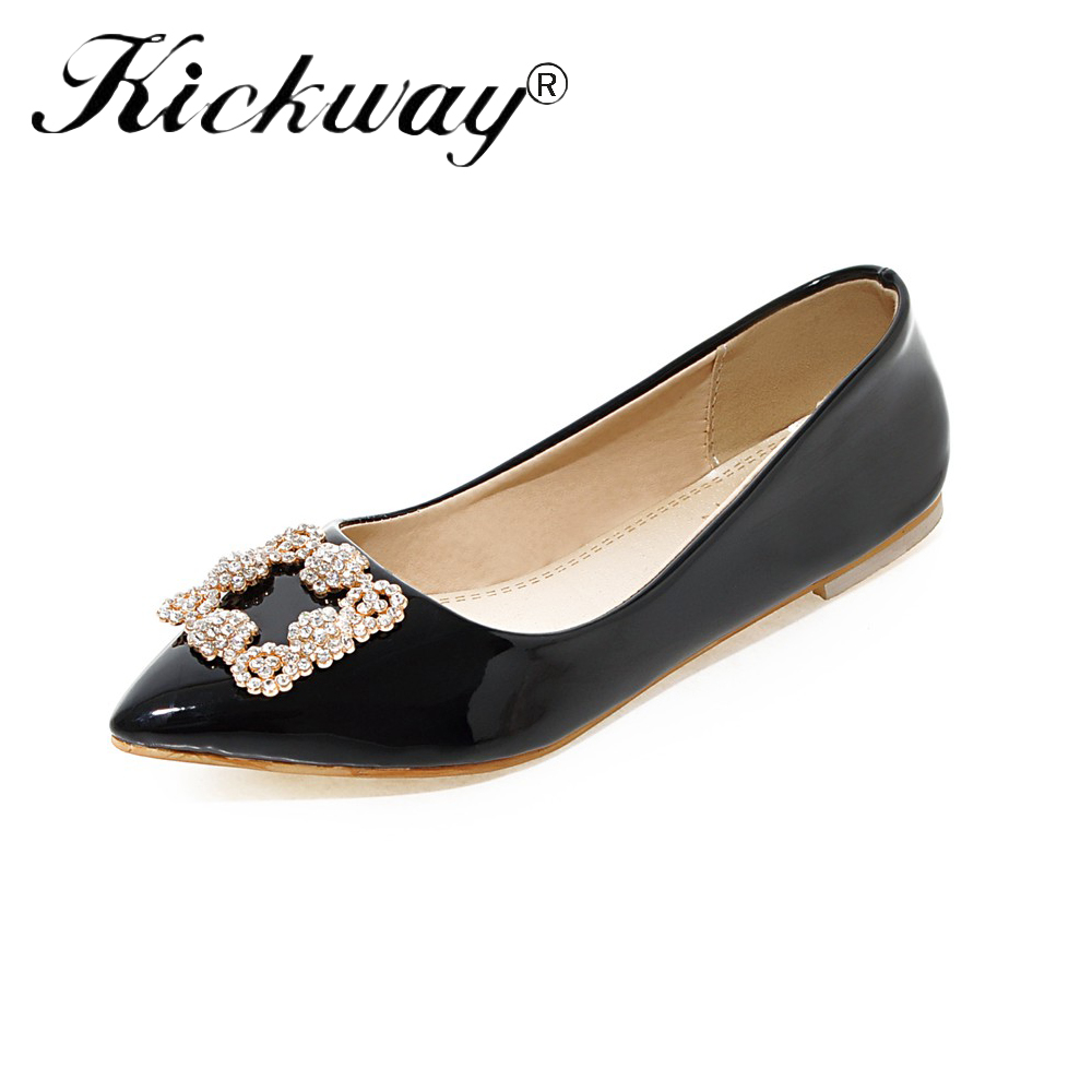 Women Crystal Loafers 2019 New Spring Autumn Women Flats Shoes Plus Size 34-49 Pu   Leather   Black Comfortable Ladies Office Shoes