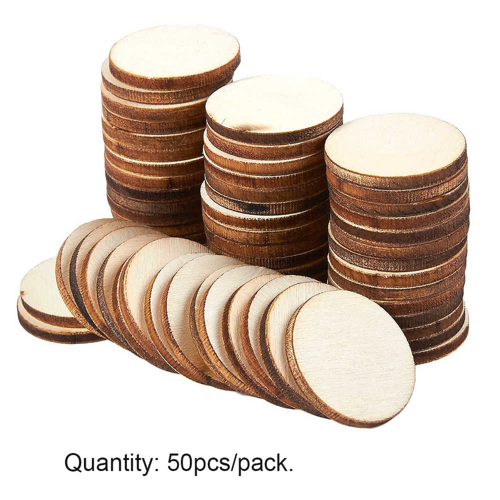 50pcs/pack Home Rustic Wedding Decoration Painting Natural DIY Craft Wood Slices Card Making Unfinished Ornaments Round Blank