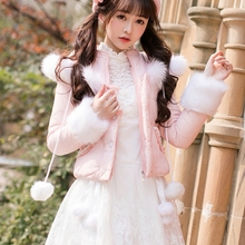 Princess sweet lolita parkas Candy rain a short section of small cotton padded w