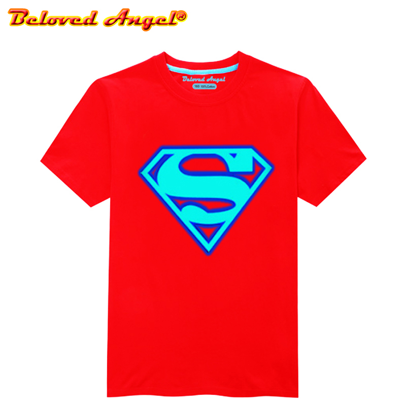 Luminous Kinder <font><b>T</b></font> <font><b>Shirt</b></font> Super Hero Logo Kinder <font><b>T</b></font>-<font><b>shirt</b></font> <font><b>Glow</b></font> <font><b>In</b></font> <font><b>Dark</b></font> Blau Licht Jugendliche <font><b>T</b></font>-<font><b>shirt</b></font> Kleinkind Jungen Mädchen Tops tees 3-15yrs image