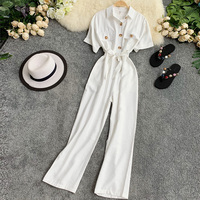 Summer Women Jumpsuit Romper Short Sleeve Turn down Collar Casual Playsuit Overalls Ladies Wide Leg Loose White Blue Playsuit