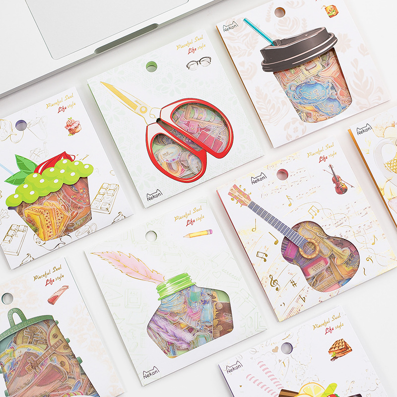 Modern Life Style Gilding Sticker Bag Stamp Stickers Adhesive Stickers DIY Decoration Stickers