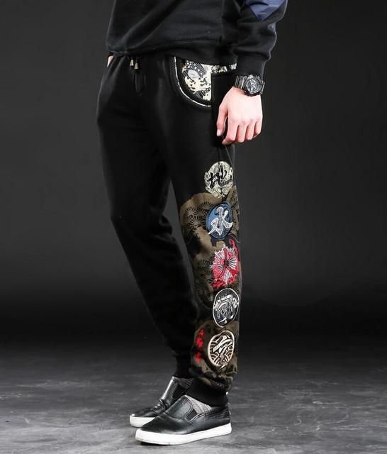 Вышивка японский дизайнер брюки осень и зима личность модный бренд повседневные брюки роскошный дизайн