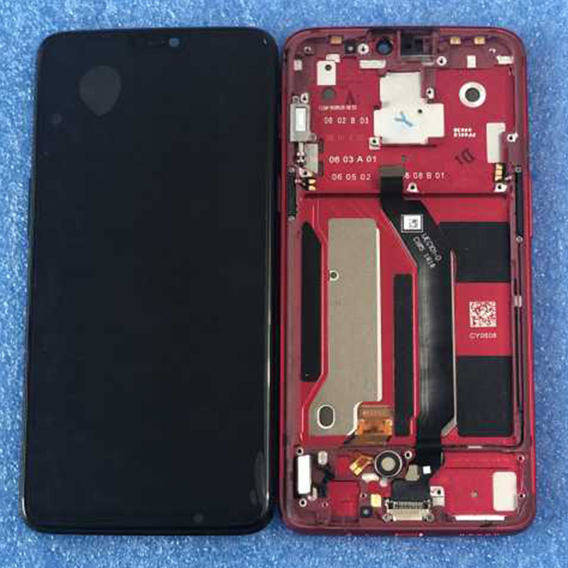 Original LCD Frame For 6 28 Oneplus 6 Axisinternational AMOLED LCD Screen Display Touch Panel Digitizer