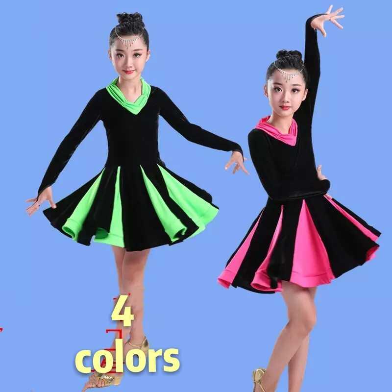 2017 Лидер продаж, новый стиль, платье для латинских танцев для девочек, зеленый/розовый/желтый цвет, сальса, ча-ча, бальный танец Румба, сексуальные юбки