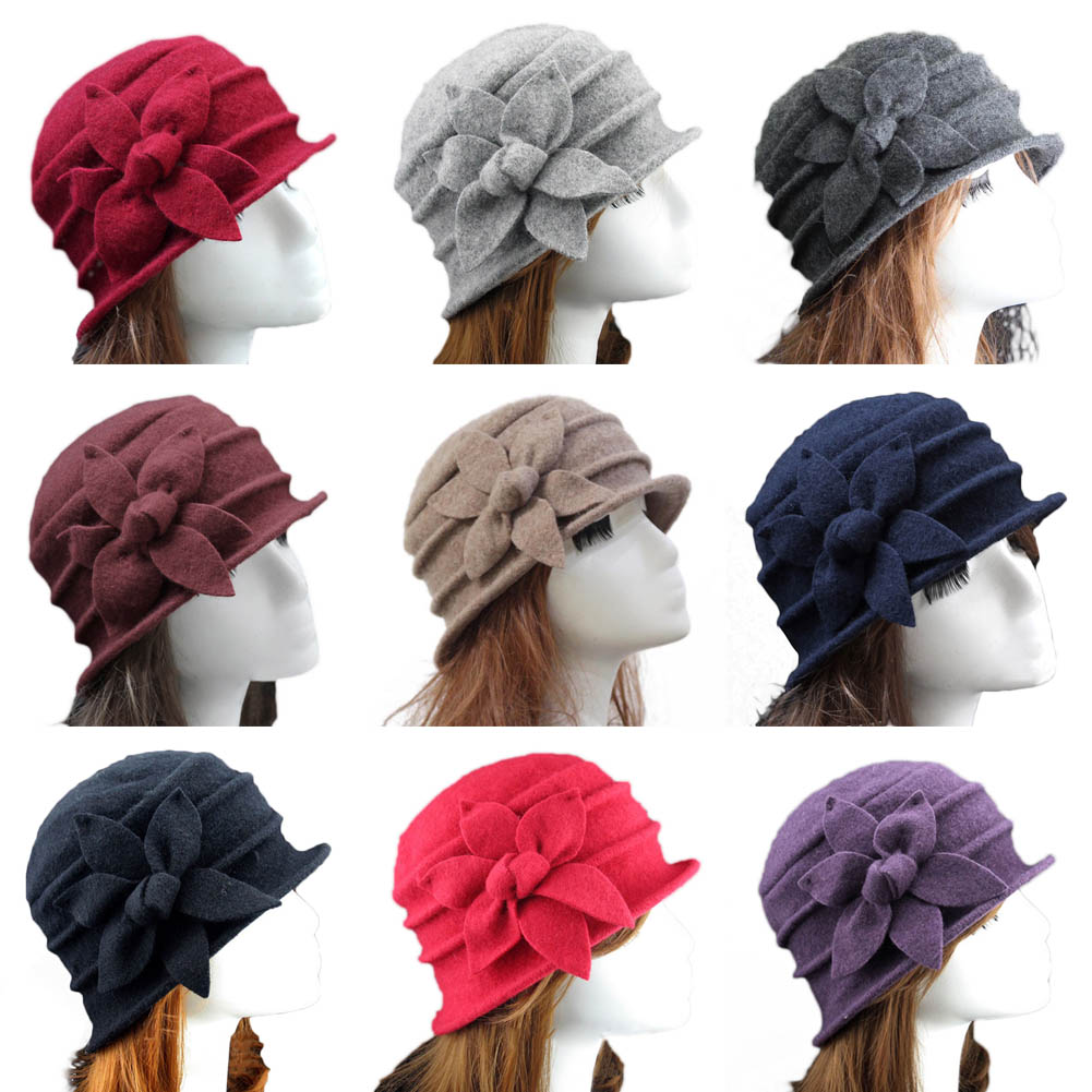 Fashion Vintage Women Bucket Hat Solid Color Flower Decoration Autumn Winter Wool Cap Elegant Ladies Girls Hats Gifts JL брюки accelerate tight