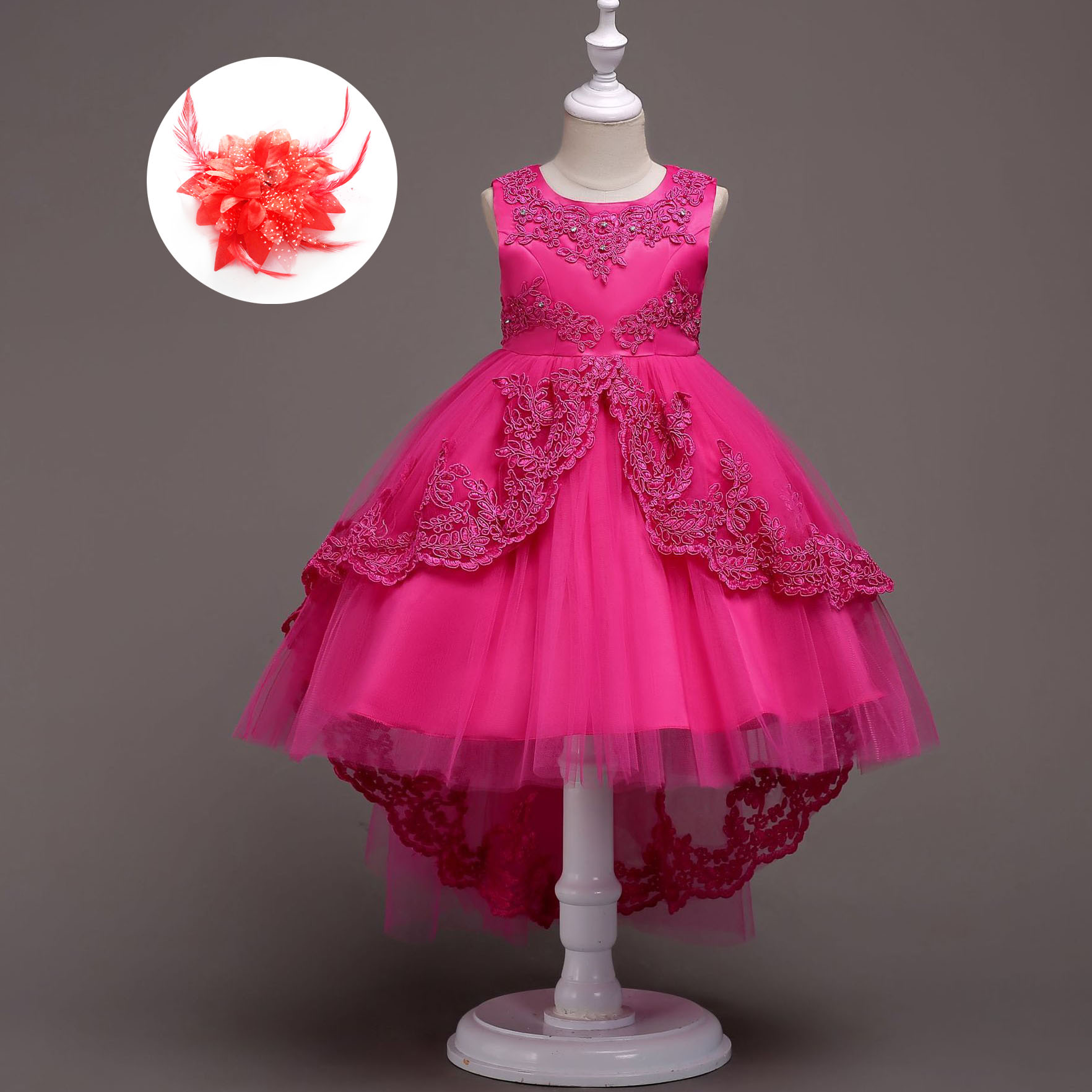 Us 16 08 33 Off Fashion Kids Tail Prom Dress Light Blue Fuchsia Pink Red White Wedding Party Gown 3 To 14 Year Old Formal Dresses In