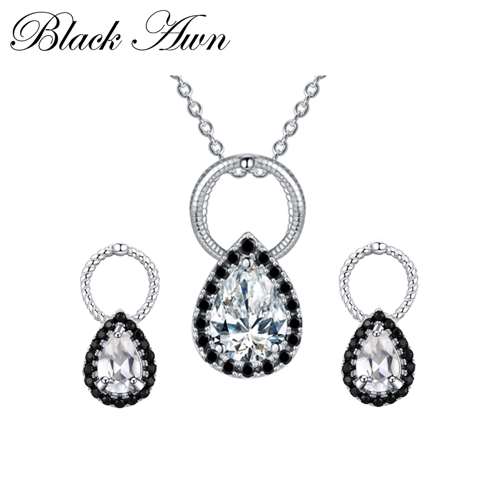 925 Sterling Silver Fine Jewelry Sets Trendy Engagement Wedding Necklace+Earring for Women PT050