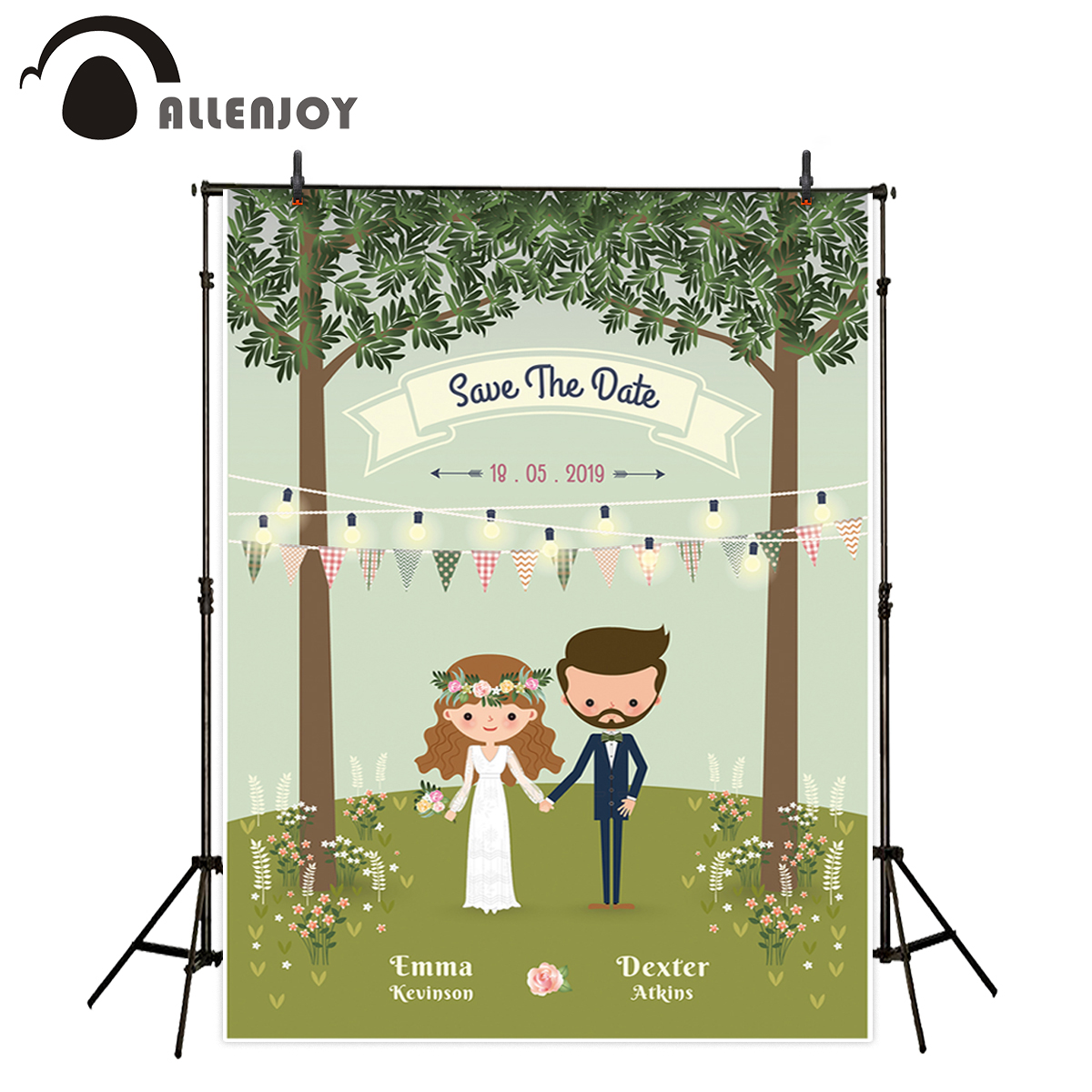 Allenjoy backdrop for photographic studio rustic bohemian cartoon couple wedding forest romantic background customize photocall