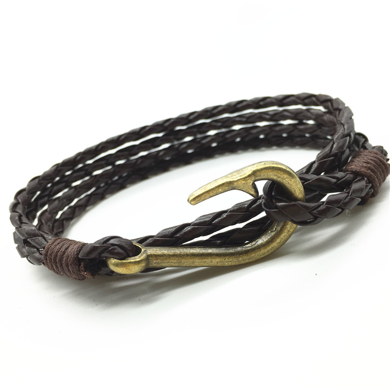 Buy new arrival handmade weave cuff rope for Leather fish hook bracelet