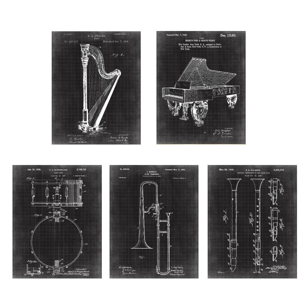 Paten antik, Instrumen seni, G1 poster set 5 in 1 pembibitan pesawat - Dekorasi rumah - Foto 3