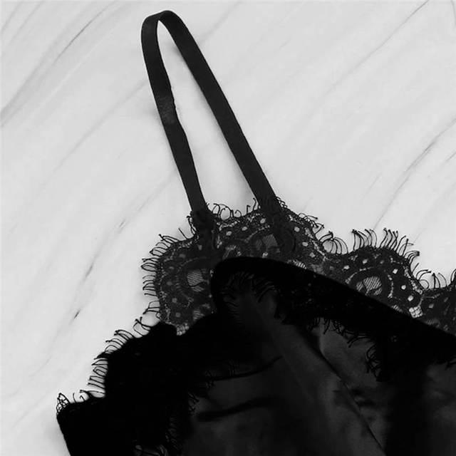 Lingerie Sexy Bra Set Women's Sleepwear Sleeveless Strap Lace Trim Satin Cami Tops Pajama Sets Bras Women Brief Sets 661BRS10 5