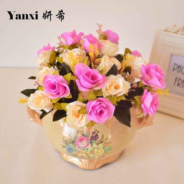 Small Rose Silk Artificial Flowers Bouquets For Tabletop Home Wedding Garden Decoration Purple Blue Pink Red