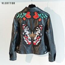 New Embroidery Pu Leather Jacket Women Slim Black Biker Jackets Coat Short Faux Leather Jacket Female Outerwear Jaqueta De Couro studded embroidery pu biker jacket