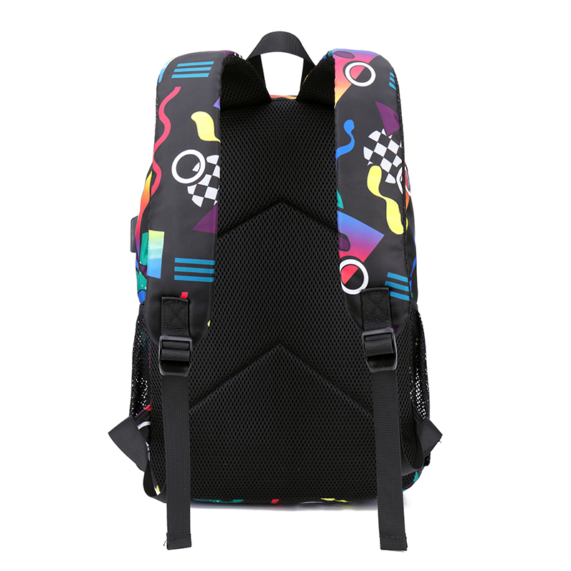 Women intelligent voice activated colorful lights Creative Print Backpack USB Port Backpack SchoolBag Girls rugzak Bagpack in Backpacks from Luggage Bags
