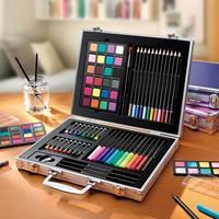 送料無料ライオンズ便利なギフトボックス見事な絵画グループ24色固体粉末+水彩ペンなど。