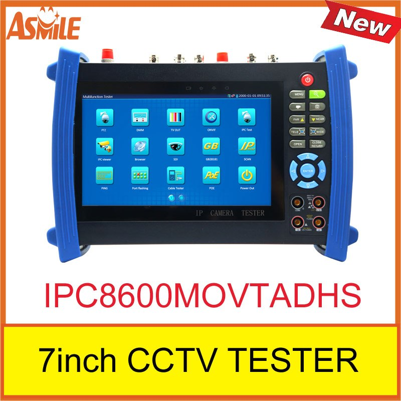 New product 7inch touch-screen IP camera cctv tester IPC8600MOVTADHS ip tester from asmile